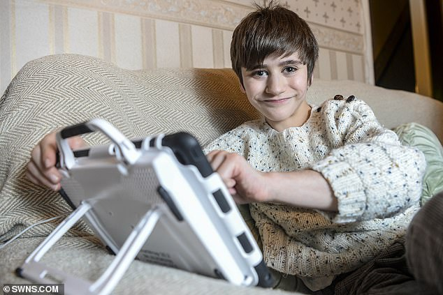 The condition means Hamish only has hearing in one ear, suffers severe asthmatic attacks, has spinal problems, learning difficulties and requires a voice computer to speak