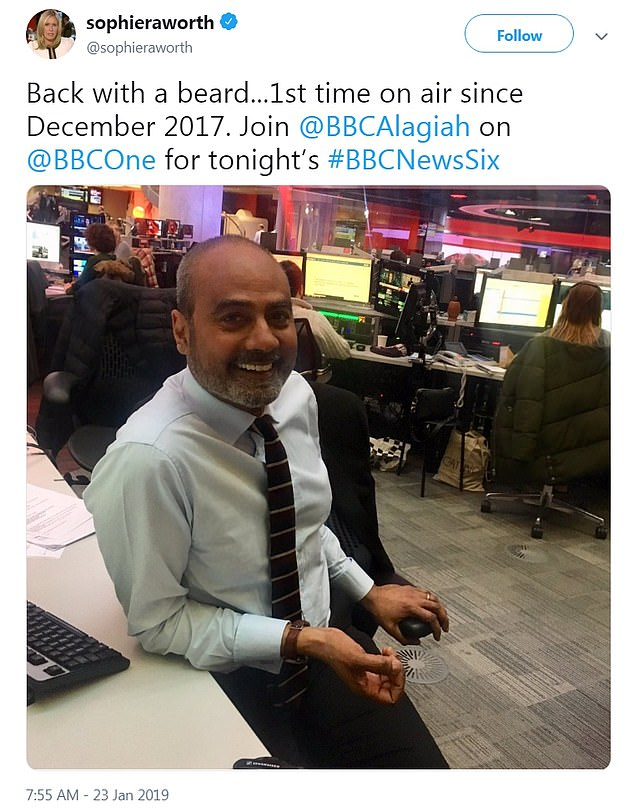 Presenter Sophie Raworth confirmed that Alagiah would be making a return to the news programme tonight and posted this picture of him back in the newsroom