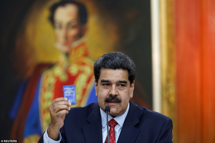 President Nicolas Maduro, pictured, gave a press conference today at the Miraflores Palace in Caracas