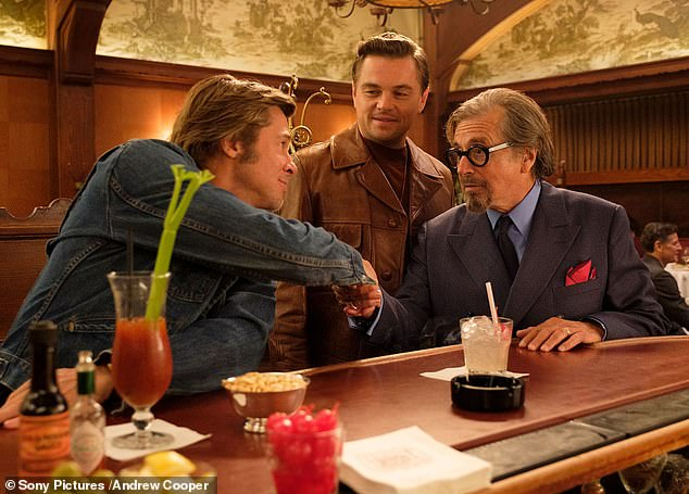 Traveling back in time: Brad Pitt, Leonardo DiCaprio, Al Pacino and Margot Robbie are featured in the first official set photos from Once Upon a Time in Hollywood, published by Vanity Fair on Friday