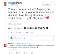 Mission Lifeline posted a tweet on Wednesday last week in which it called on those who 'weren't married yet' to 'fall in love with someone who doesn't have the right to stay here'