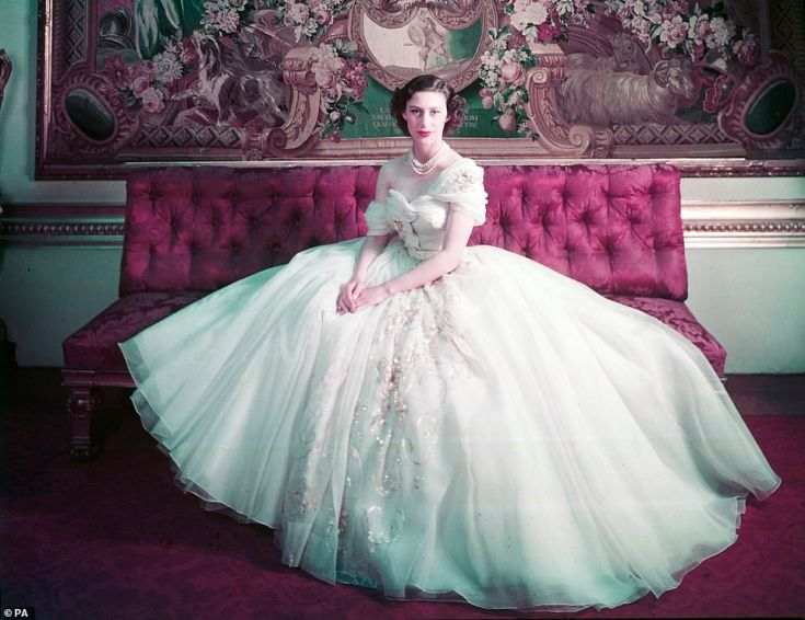 Royal Portrait of Princess Margaret on her 21st birthday by Cecil Beaton in a dress designed by Christian Dior, part of the Christian Dior: Designer of Dreams exhibition at the London attraction which runs from February 2 to 14 July