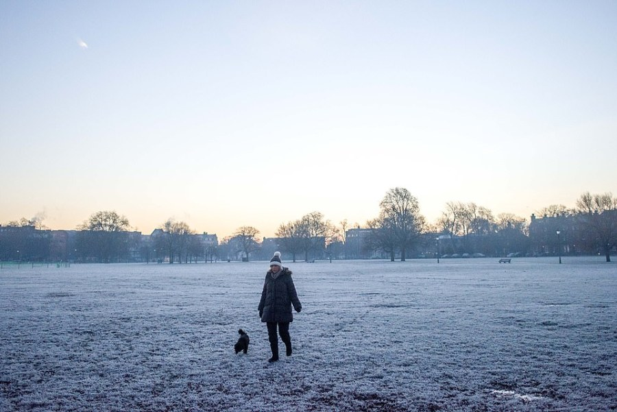 A woman walks her dog through a frosty Clapham Common in South West London this morning