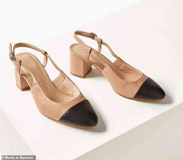 The versatile M&S heels, pictured, can be worn to the office with a suit, or dressed down for the weekend with distressed cropped jeans