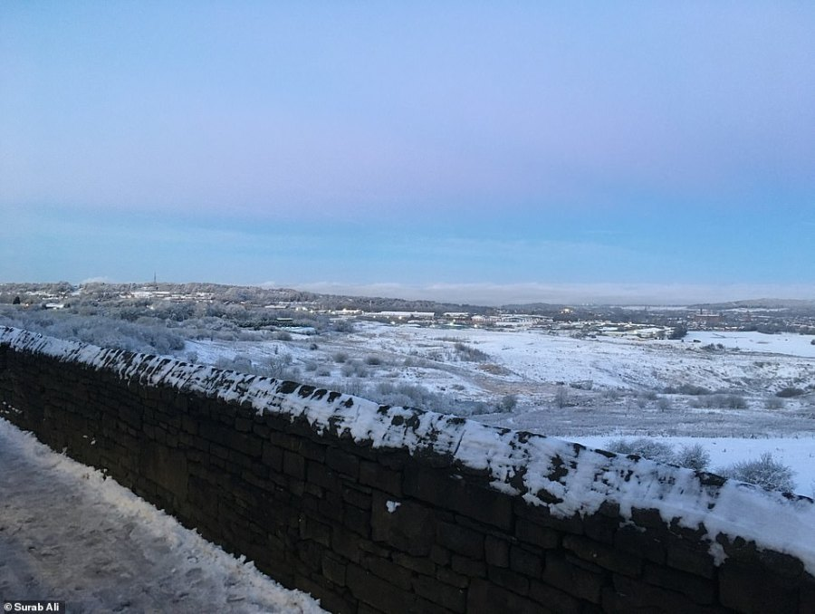 Snow has fallen across Oldham in Greater Manchester, as shown in this picture from Surab Ali