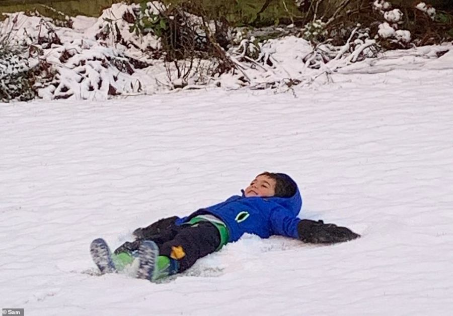 MailOnline reader 'Sam' sent in this picture of a boy in the snow in Tadworth, Surrey