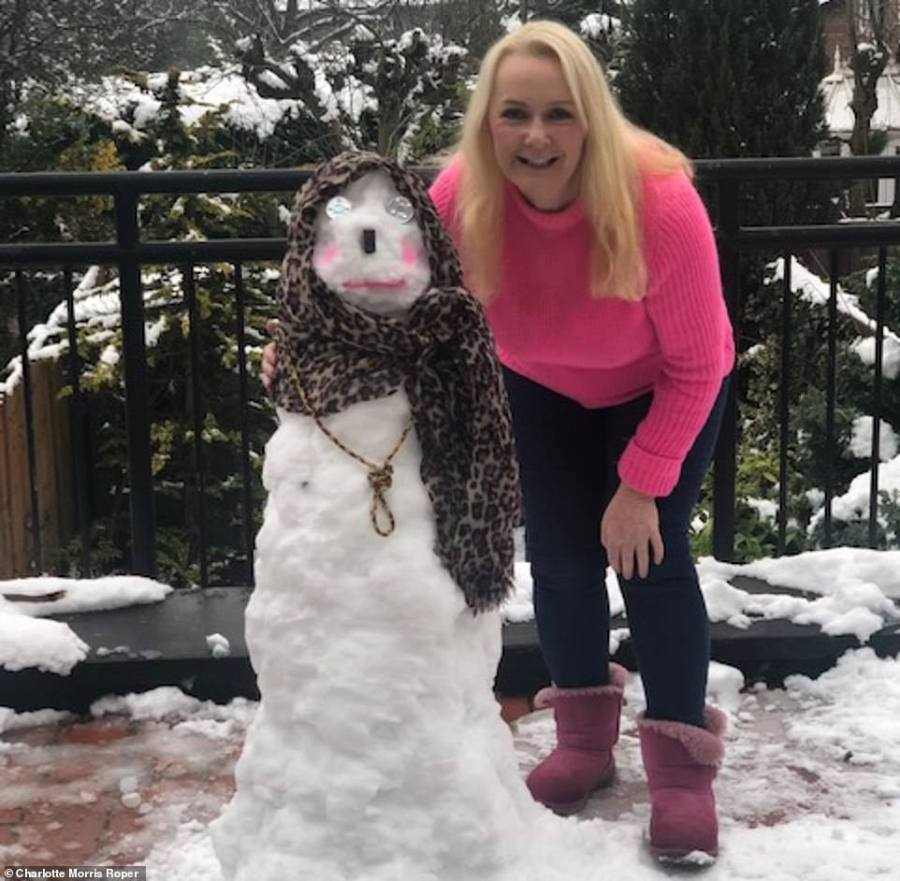 MailOnline reader Charlotte Morris Roper made this 'snowlady' in Hale, Cheshire