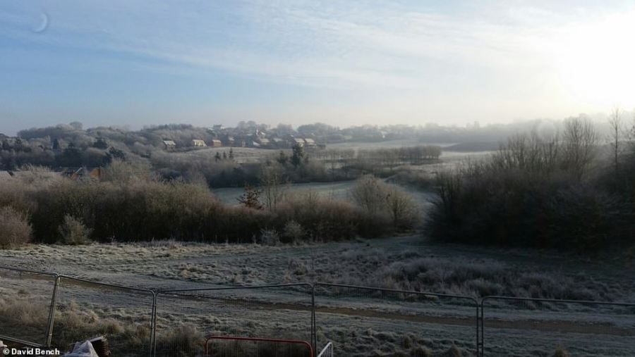 A frozen landscape at Lawley in Telford, Shropshire, was photographed by David Bench