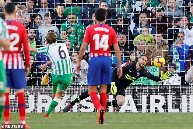 Jan Oblak went the right way but Sergio Canales' strike was too powerful for the goalkeeper