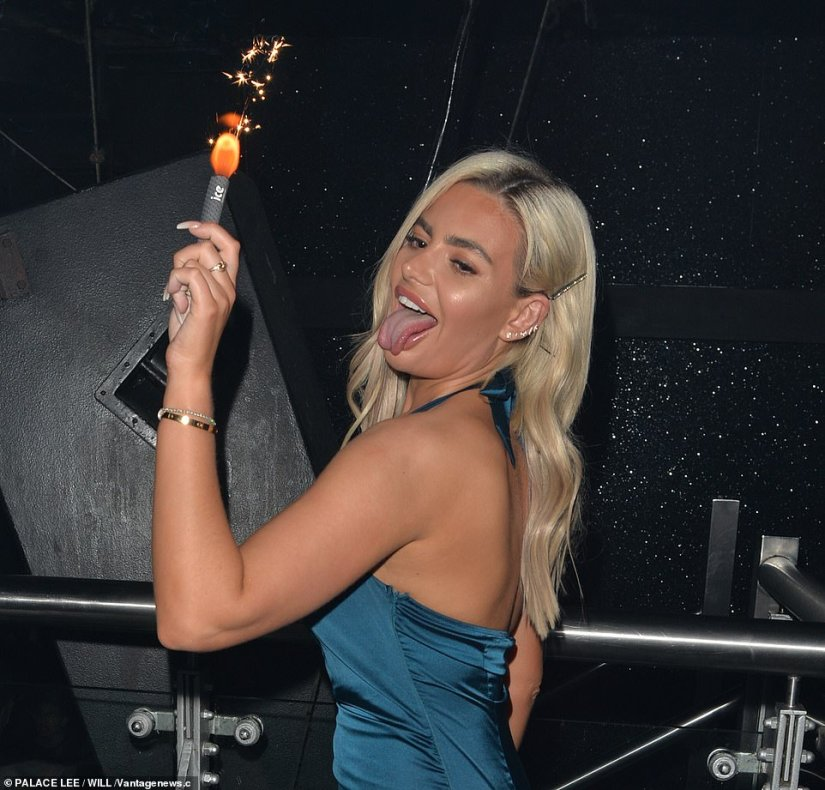 Boozy: The former stripper poked her tongue out in a number of photos and also gyrated against Samira