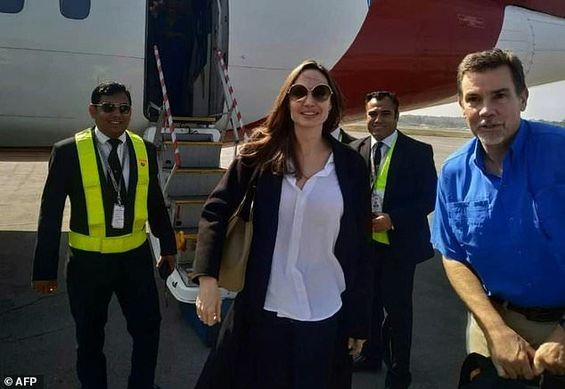 Safe landing: Jolie is in Bangladesh to assess the humanitarian needs of the one million Rohingya in camps around the town of Cox's Bazar