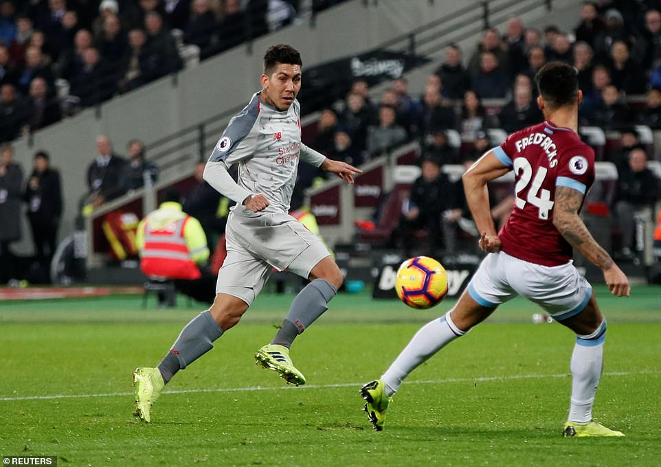 Roberto Firmino was struggling to get involved in the game in the first half as he tried to break down the West Ham defence