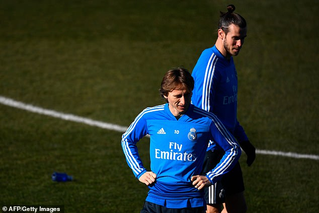 Luka Modric (front) and Gareth Bale in training as Real gear up for a defining few weeks