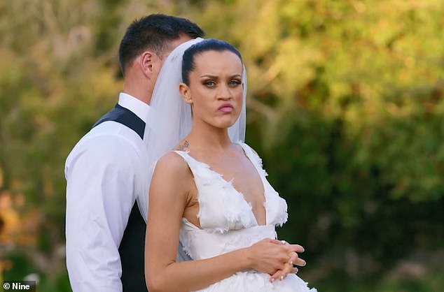 High standards: Fans weren't impressed with the bride showed dissatisfaction for Bronson after seeing his eyebrow piercing, up on meeting him for the first time down the aisle