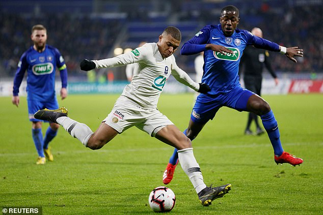 Mbappe was brought on in the second half and he proved tricky for the Villefranche defenders