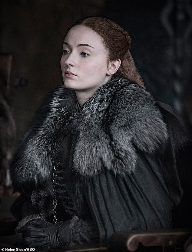 Lady of Winterfell: Sophie Turner also wears the same costume as where we last saw her as her character Sansa Turner, while staring haughtyly into the distance