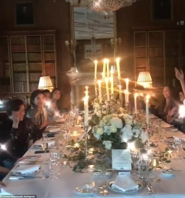 And despite her busy role, Emma ensures she makes time for her friends, throwing lavish dinner parties complete with stunning table displays for her closest friends. This party, thrown next to the secret library room, followed a black tie theme