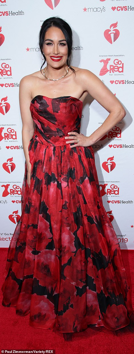 Twin beauties: Wrestling superstars Brie Bella [pictured] and Nikki Bella both also glammed up the red carpet