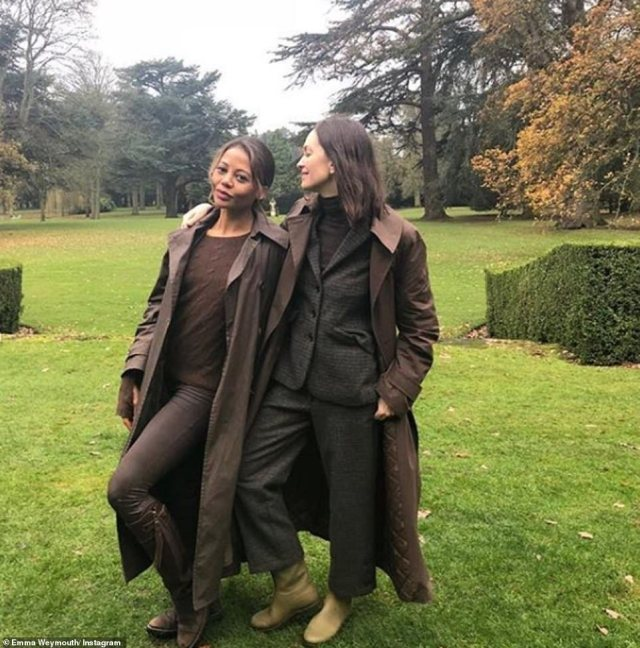 As well as a wardrobe of glamorous dresses, Emma also boasts a stylish ensemble of countryside clothing approriate for walks around the acres of land surrounding Longleat House. She is seen enjoying the outdoors with a pal