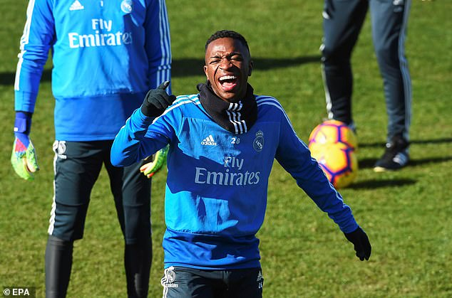 The highly-rated Vinicius Junior was in good spirits as Real Madrid prepared for the game