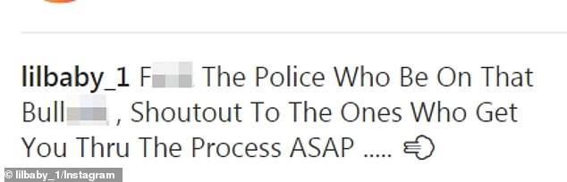 """Angry: He wrote, """"Fuck the police, which is on these cops."""" Call the people who will get you through the process as soon as possible. & # 39;"""