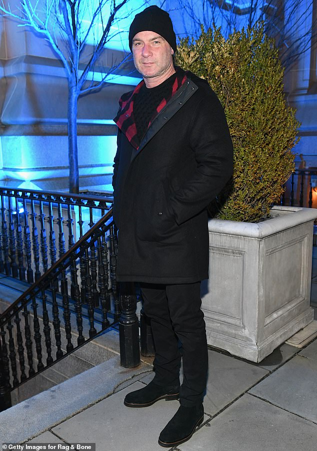 Ray Donovan: And Naomi Watts' ex-husband Liev wore a black coat with red plaid lining for the evening
