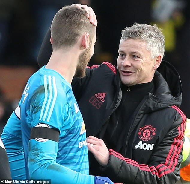 The Spaniard congratulated Ole Gunnar Solskjaer after United's victory against Fulham