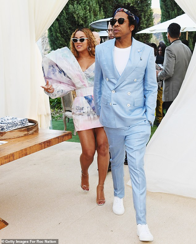Swanking about:Beyonce and Jay-Z led the cavalcade of celebrity hot couples at the Roc National pre-Grammy brunch in Los Angeles this Saturday
