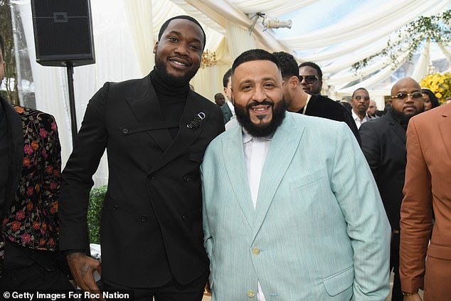 Stars all around:DJ Khaled, who also attended the first birthday party of Kylie Jenner and Travis Scott's daughter Stormi that day, posed at the Roc Nation bash with Meek Mill