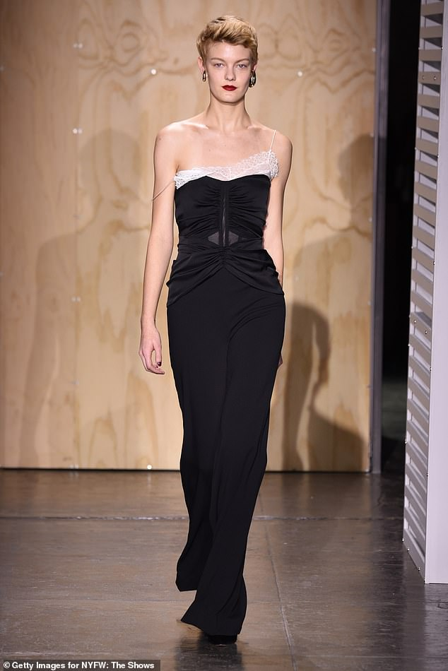 Trend: Jonathan's pieces featured an array of styles and patterns, which included multiple one-shoulder looks