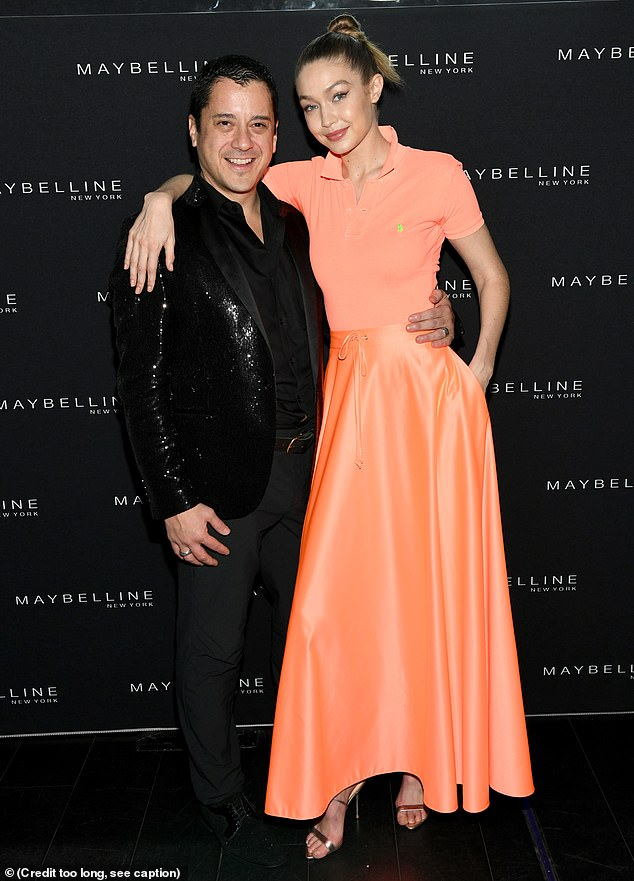 Duo:Gigi, 23, had a radiant smile on her face as she posed with her arm around Leo Chavez, the global president of Maybelline New York
