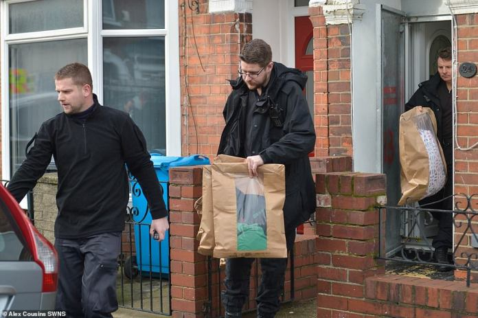 The police today show the removal of items from the house of the Polish butcher Pawel Relowicz in Hull