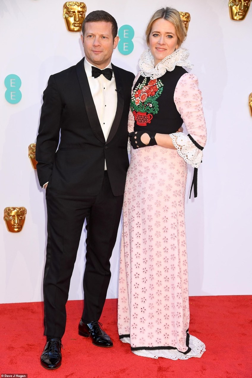 Red carpet ready:Edith Bowman and Dermot O'Leary arrived first to interview stars on the red carpet