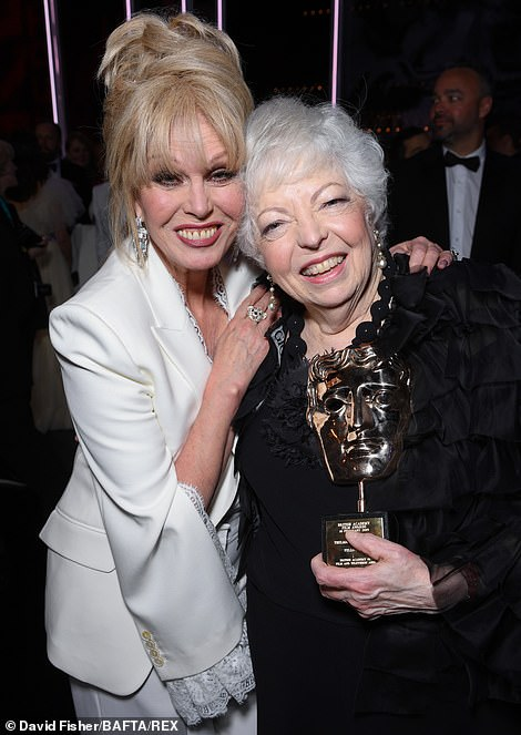 Sweet:Thelma Schoonmaker picked up the Fellowship award for her commitment to film as she caught up with presenter Joanna Lumley