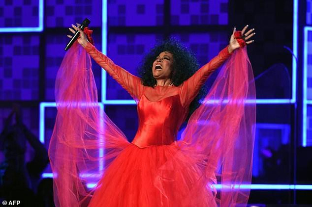 US singer Diana Ross performs at the Grammys in celebration of her upcoming 75th birthday
