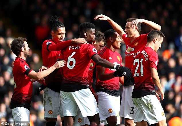 Paul Pogba (centre) celebrates with his team-mates after scoring against Fulham on Saturday