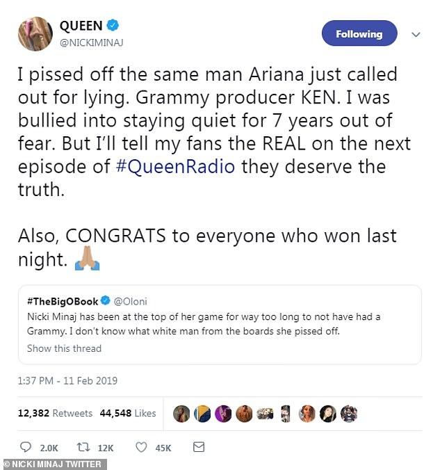 Tweet: 'Hice enojar al mismo hombre que Ariana acaba de llamar por mentir. El productor de Grammy KEN, comenzó Minaj.