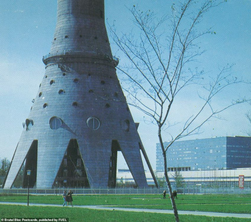 A postcard of an image snapped in 1967 showing the base of the Ostankino Tower, a TV and radio tower in Moscow. It was the tallest free-standing structure in the world from 1967 to 1976