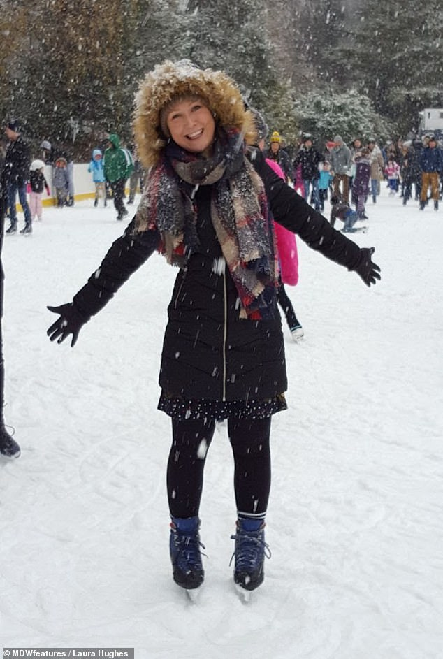 Living life to the full: Ms Hughes enjoying ice skating as part of her 50-strong bucket list