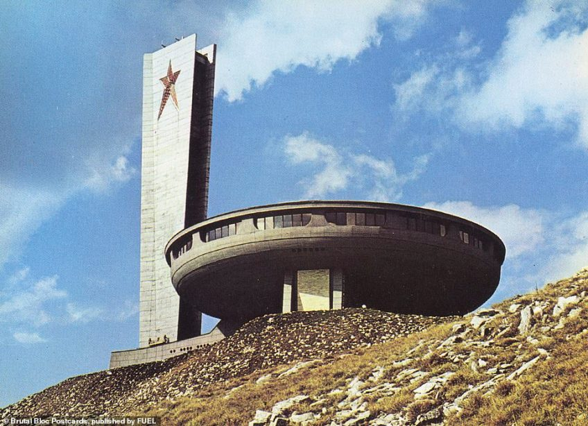 The almost space-ship like Buzludzha Monument pictured in 1974 in the Central Balkan Mountains of Bulgaria