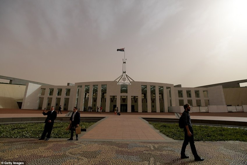 The dust blew eastwards, engulfing Canberra (pictured) on Tuesday evening and reaching Sydney overnight