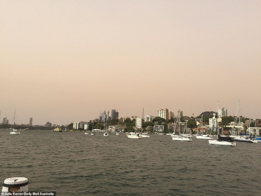 Stunning pictures taken by a Daily Mail Australia photographer show the dust over Sydney harbour