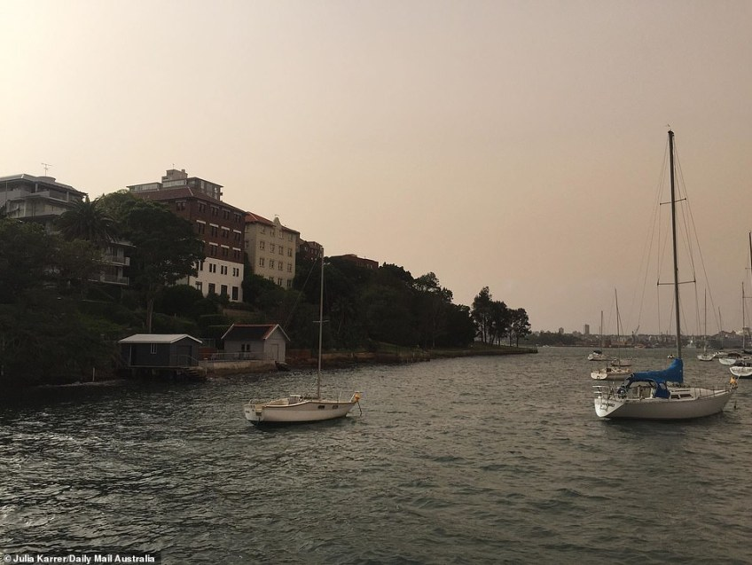 Healths experts warn that during dust storms people should void outdoor activity. If you must go outside, spend as little time outside as possible. Pictured is Sydney harbour on Wednesday