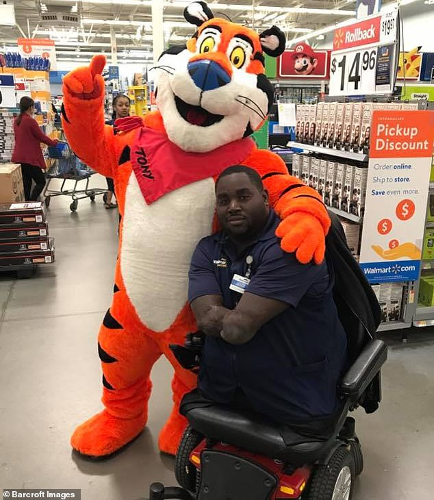 Determined: Despite going through tough periods when he was younger, Joseph now works a full-time nine-to-five job in the electronics department at a local Walmart store