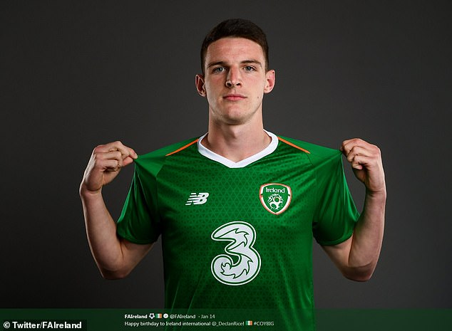 The Football Association of Ireland wished Rice a happy 20th birthday on Twitter last month and accompanied the post with this picture
