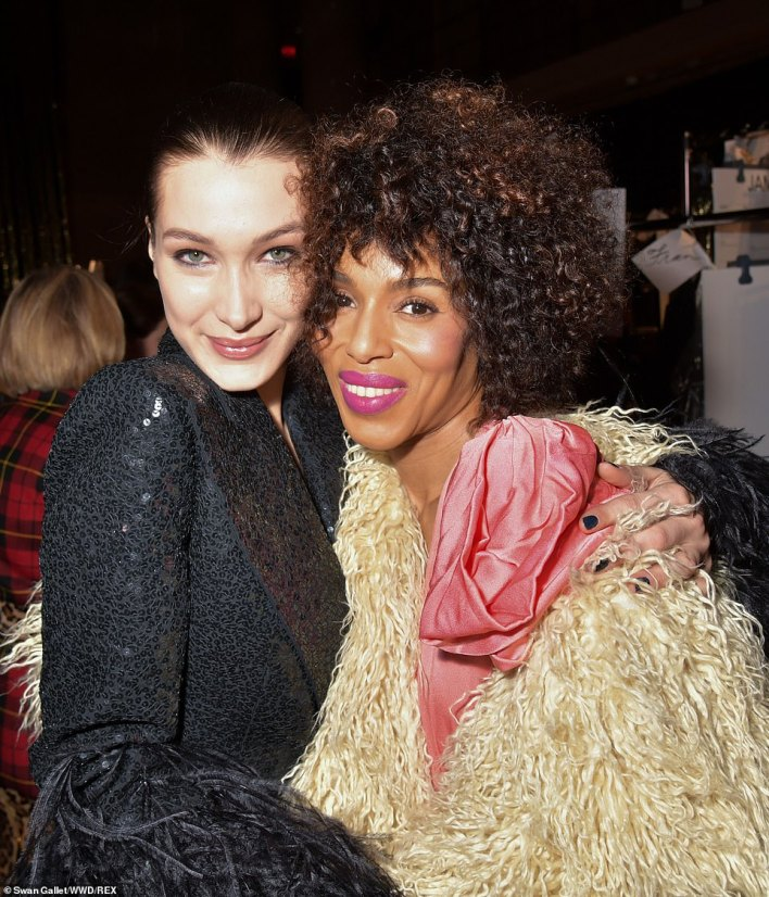 Hanging out: Kerry was given a big hug by Bella as they posed for a snap together