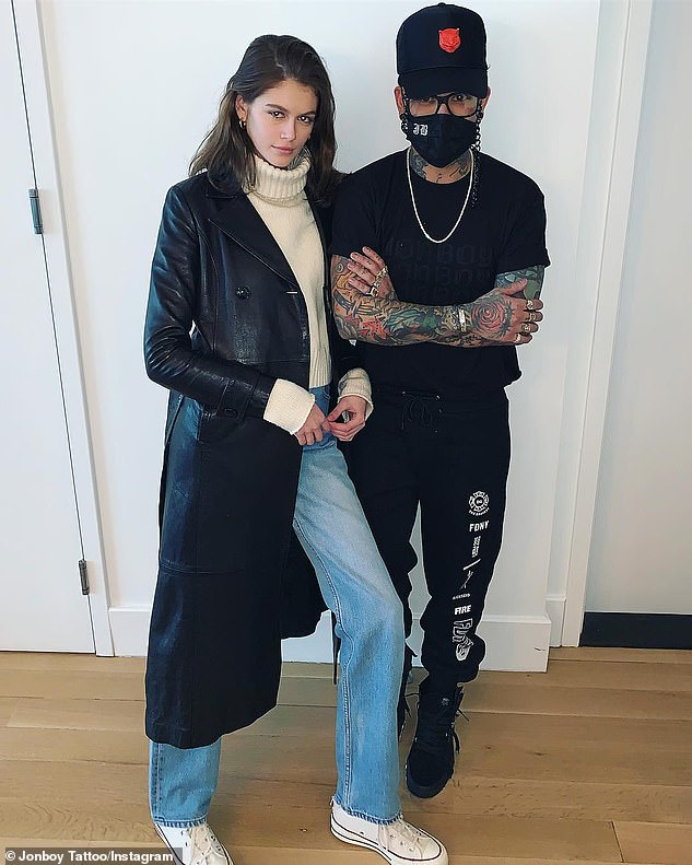 Violation of Section 260.21: It's illegal for Manhattan tattoo artist JonBoy (R) - who's also inked Kendall Jenner, Halsey, and Justin Bieber - to permanently brand minors regardless of parental consent in New York state