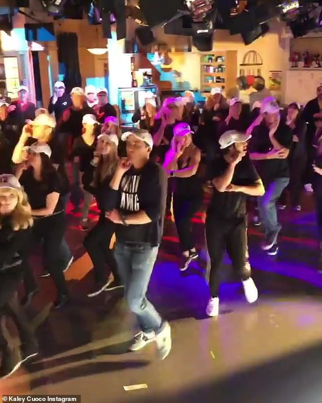 """A final dance: """"I guess ... I'm not sure, I'm assuming that the Backstreet Boys wrote this song about their fans, and when you listen to the song Larger Than Life, it's called the fans and what they say how much they love her, """"said Cuoco"""