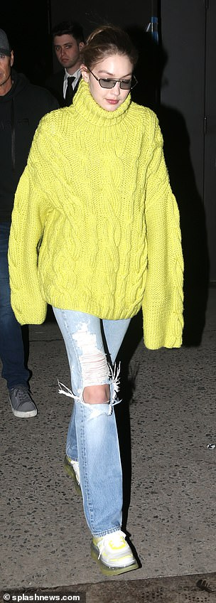 Arriving in style: Gigi arrived to the catwalk in a casual ensemble