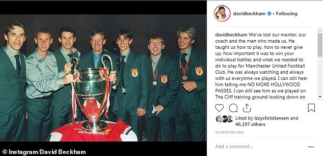 David Beckham paid tribute to Harrison with a message and picture on his Instagram account